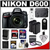 Nikon D600 Digital SLR Camera with 28-300mm VR AF-S Zoom Lens, Shoulder Bag and 32GB Card + 64GB Card + 2 Batteries and Charger + 3 Filters + Remote + Accessory Kit, Best Gadgets
