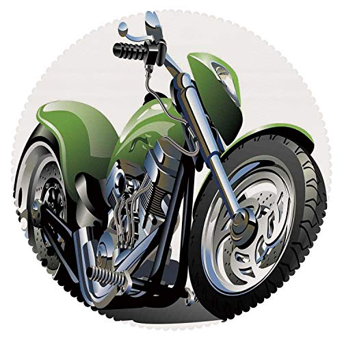 iPrint No Chemical Odor Round Tablecloth [ Motorcycle,Motorcycle Design with Fancy Supreme Gears and Metal Tires Action Urban Life,Green Silver ] Fabric Home Set