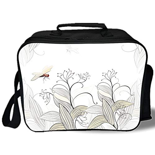 Dragonfly 3D Print Insulated Lunch Bag,Curled Nature Branches Leaves Lake Coast Abstract Floral Shabby Chic Pattern,for Work/School/Picnic,Cream Pearl