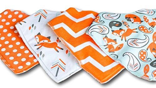 Baby Bandana Drool Bibs for Drooling and Teething 4 Pack Gift Set by Captain Cuddles ()