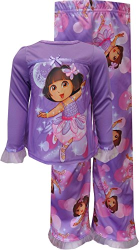 Nickelodeon Girls' Dora The Explorer Ballerina Ruffles Toddler Pajama, Purple, Size 2T