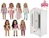PZAS Toys American Girl Doll Furniture Armoire - 18'' Doll Dream Lot - Closet Storage, 7 Outfit Sets Fits American Girl Dolls, 10 Clothes hangers