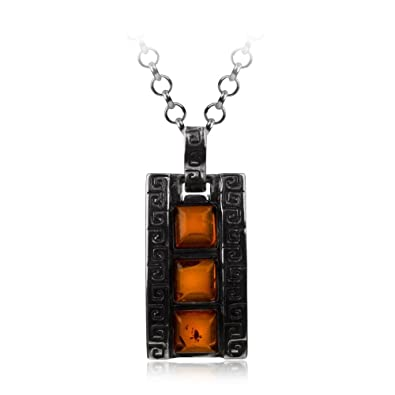 Honey Amber Sterling Silver Pendant Rolo Chain 18