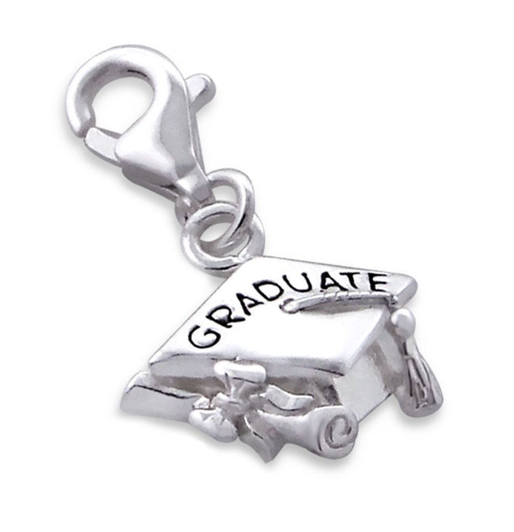 Graduation Cap Charm Lobster Clasp Sterling Silver 925 for Charms Bracelet, Necklace (E7239)
