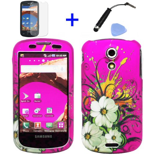 (4 items Combo: Stylus Pen, Screen Protector Film, Case Opener, Graphic Case) Pink Hawaiian White Flower Green Vine Design Rubberized Snap on Hard Shell Cover Faceplate Skin Phone Case for Sprint Samsung Epic 4G D700 Galaxy S (Sliding Keyboard Version) ()
