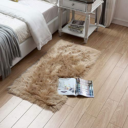 Rectangle Sheepskin Rug Supersoft Fluffy Area Rug Shaggy Silky Throw Rug Floor Mat Carpet Decoration (2 ft x 3 ft, Coffee)