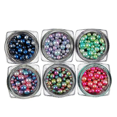 Alivego 6 Box 3D Nail Art Caviar Beads Charm Pearl Rhinestone Decoration wheel (Pearl Charms Rhinestones)