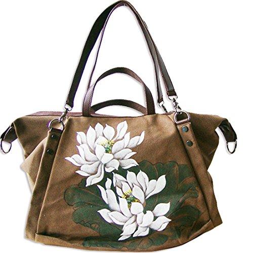 Kaxidy Flowers Bag Femme Sac à bandoulière Sac à bandoulière Messenger Sacs de voyage Sacs de travail (kaki) Café
