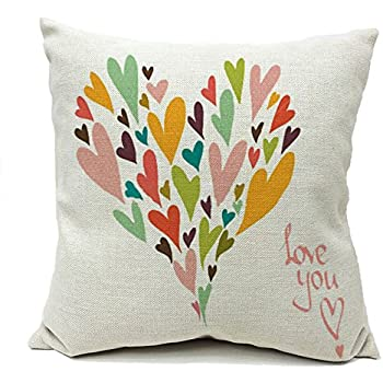 4TH Emotion Love You More Colorful Heart Shape Cotton Linen Square Throw Pillow Cover Decorative Cushion Sham Pillowcase Cushion Case for Sofa 18 x 18 Inch