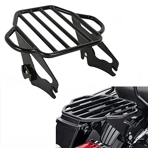 TCMT Gloss Black 2-Up Luggage Rack Mount Fits For Harley Davidson Touring Models 2009-2020