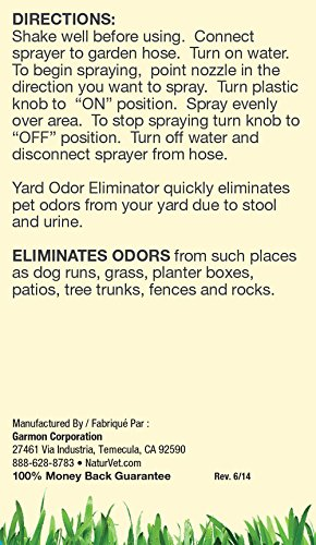 NaturVet Yard Odor Eliminator Concentrated Ready to Use Spray Bottle with Nozzle, 32 oz Liquid, Made in USA