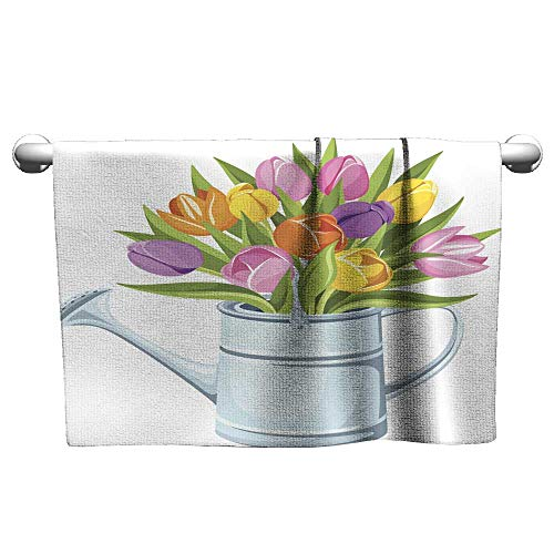 Tankcsard Valentines Bouquet of Tulips in Watering can Vector Illustration,Towel Shelf for Bathroom