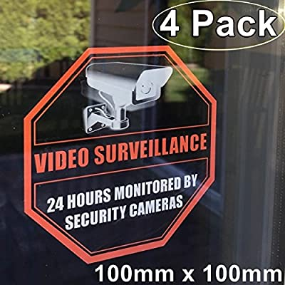 "Front Self Adhesive Clear Vinyl Outdoor/Indoor (4 Pack) 4"" X 4"" Home Business Security DVR CCTV Camera Video Surveillance System Window Door Warning Alert Sticker Decals"