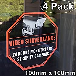 "**Front Self Adhesive Clear Vinyl** Outdoor/Indoor (4 Pack) 4"" X 4"" Home Business Security DVR CCTV Camera Video Surveillance System Window Door Warning Alert Sticker Decals"