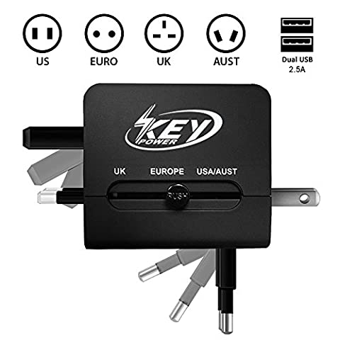 Key Power Universal All in One International Outlet Travel Adapter with USB Charger for [US, UK, Europe, Australia, France, Peru, Germany, Greece, Poland, Ireland, Paris, Switzerland, - Outlet Converter