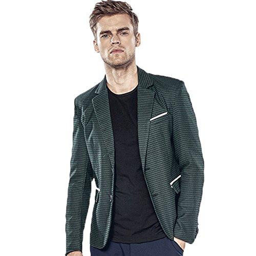 Sndofej Houndstooth Anzug qiu dongkuan körper Tasche weißen Rand  Herren Zwei - Tasten - Anzug,grüne,2XL
