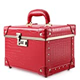 Portable Makeup Train Case Double Layer Cosmetic Bags Leather Toiletry Case for Women (15'', Red Crocodile)
