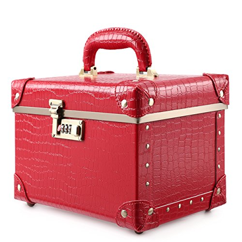 Portable Makeup Train Case Double Layer Cosmetic Bags Leather Toiletry Case for Women 15 , Red Crocodile