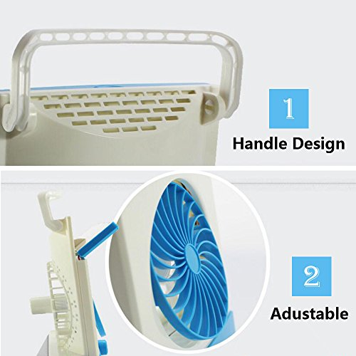 Ansee 3 in 1 Multi-functional Solar Cooling Table Fans with Eye-Care LED Table Lamp Flashlight Solar Panel Adaptor Plug for Home Use Camping (Blue) by Ansee (Image #5)