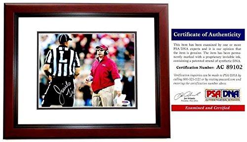 Signed Jimbo Fisher Photo - 8x10 MAHOGANY CUSTOM FRAME Certificate of Authenticity COA) - PSA/DNA Certified