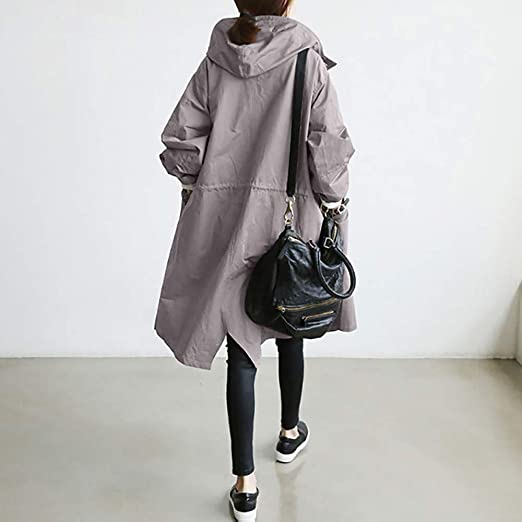 Amazon.com: Excellent Value Besde Womens Autumn and Winter Fashion Loose Hooded Wild Elegant Solid Windbreaker Comfortable Button Trench Coat: Garden & ...