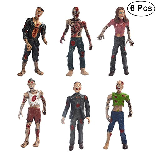 LUOEM 6PCS Walking Dead Zombie Dolls Static Models Figures Toys Halloween Christmas Birthday Gift for Boys
