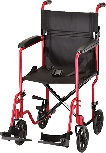 """NOVA Medical Products 19"""" Steel Transport Wheelchair, Red"""