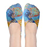 Womens Ink Africa Girl Low Cut Thin No Show Non Slip Boat Sock