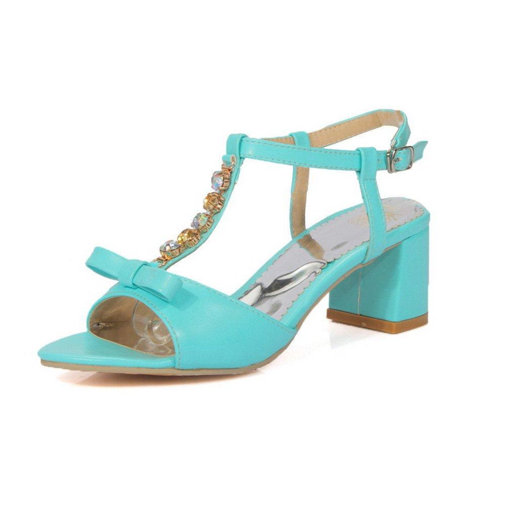 AllhqFashion Women's Buckle Open Toe Kitten-Heels PU Solid Sandals, Blue, 37 by AllhqFashion