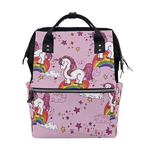 Mochila escolar de viaje con diseño de unicornio en un arco iris, para mujeres y hombres