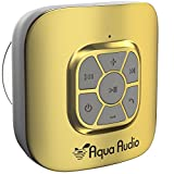 AquaAudio Cubo - Portable Waterproof Bluetooth Speaker with Suction Cup for Showers, Car, etc. - Pairs with All Bluetooth Devices + Siri Compatible - 10 hours Playtime/ Built-in Mic (Gold)
