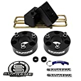 "Supreme Suspensions - F150 Lift Kit Full Suspension Lift 3"" Front Suspension Lift CNC Machined T6 Aircraft Billet F150 Leveling Kit Strut Spacers + 3"" Rear Suspension Lift High-Strength Carbon Steel Blocks (Black) Easy Install Ford F-150 Lift Kit PRO"