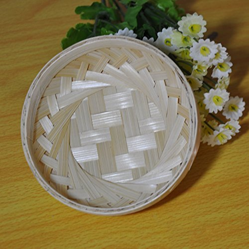 Beautiful Cute Bamboo Material 100% Handwoven Artcraft Wicker Basket Food Storage Woven Tray Vegetable Fruit Utensil Organizer Holder Bowl Decorative Rack Steaming Photo Props Display (No.2)