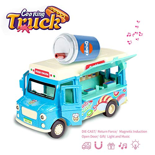 Jsbaby Car Toy Pull Back Vehicle Functional Food Truck with Music&Light Die - Toys Kids Truck Food
