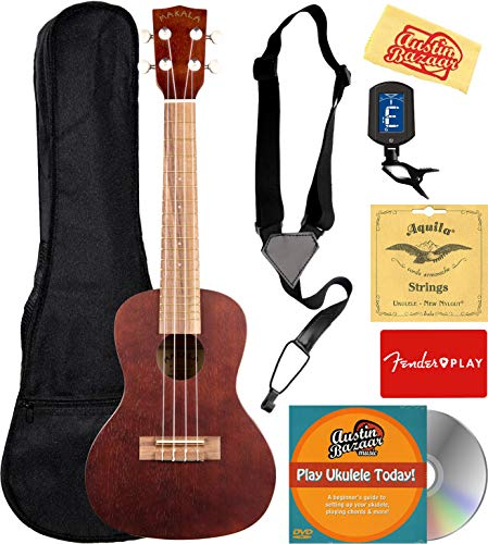 Kala MK-C Makala Concert Ukulele Bundle with Gig Bag, Tuner, Strap, Aquila Strings, Online Lessons, Austin Bazaar Instructional DVD, and Polishing Cloth