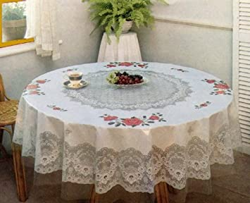 Tablecloth, Floral, Vinyl Printed 70 Inches Round
