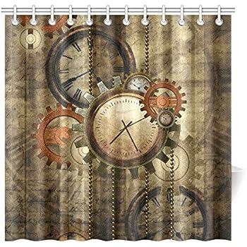 CaseCastle Waterproof Bathroom Fabric Shower Curtain Steampunk Clocks And Gears Print Design 72x72