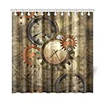 "CaseCastle Waterproof Bathroom Fabric Shower Curtain Steampunk Clocks and Gears Print Design 72""x72"" 6"