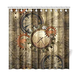 CaseCastle Waterproof Bathroom Fabric Shower Curtain Steampunk Clocks and Gears Print Design 72″x72″