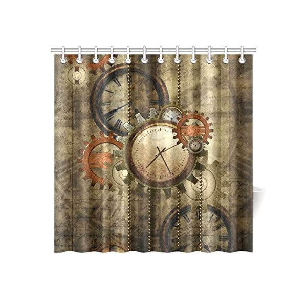 "CaseCastle Waterproof Bathroom Fabric Shower Curtain Steampunk Clocks and Gears Print Design 72""x72"" 3"