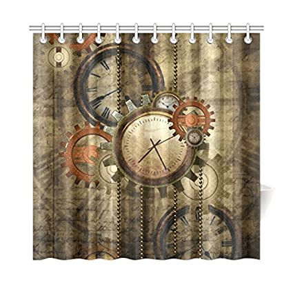 CaseCastle Waterproof Bathroom Fabric Shower Curtain Steampunk Clocks And Gears Print Design 72quot