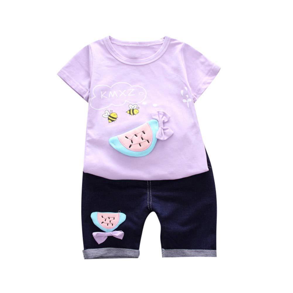 EFINNY Children Girls Cartoon Printed Cotton Short Sleeve Round Collar Casual T-Shirt Denim Shorts