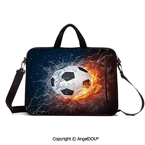 AngelDOU Customized Neoprene Printed Laptop Bag Notebook Handbag Soccer Ball on Fire and Water Flame Splashing Thunder Lightning Abstract Compatible with mac air mi pro/Lenovo/asus/acer ()