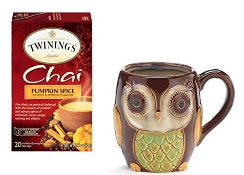 Twinings Pumpkin Spice Chai Tea with Chocolate Porcelain Owl Mug - Gift Boxed