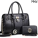 Medium Satchel Handbag Designer Large Purse Two Tone Padlock w/ Shoulder Strap Black