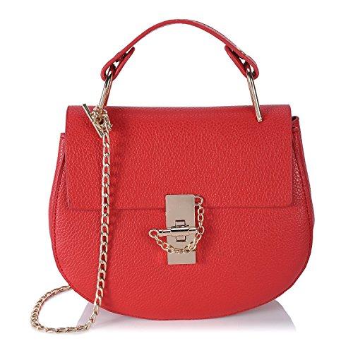 Small Cross Body Bags for Women Shell PU Leather Chain Handbag Mini Wristlet Clutch - White Red
