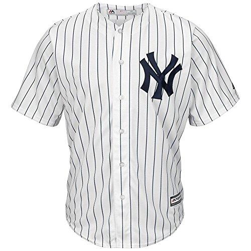 White Pinstripe Majestic Jersey (majestic New York Yankees Cool Base Pinstripe Tackle Twill Baseball Jersey (Large))