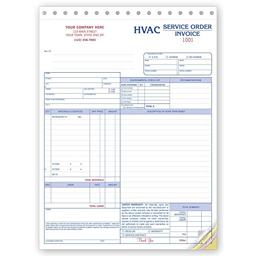 CheckSimple HVAC Service Orders, Specific for The HVAC Industry but Customized for Your Business, Invoice and Jobs Cost. (250 Forms)