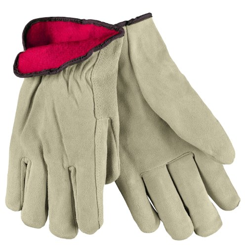MCR Safety 3150XL Premium Grade Split Leather Insulated Driver Men's Gloves with Red Fleece Lined and Straight Thumb, Tan, X-Large, 1-Pair Memphis Split Leather Driver