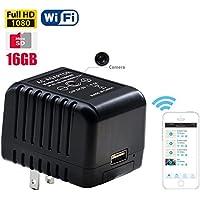 Fuvision 16GB WiFi Hidden Spy Camera 1080P Internet Streaming AC Power Adapter 5.0 Mega Live Stream iOS-Android App Based USB Power Charger Hidden Camera
